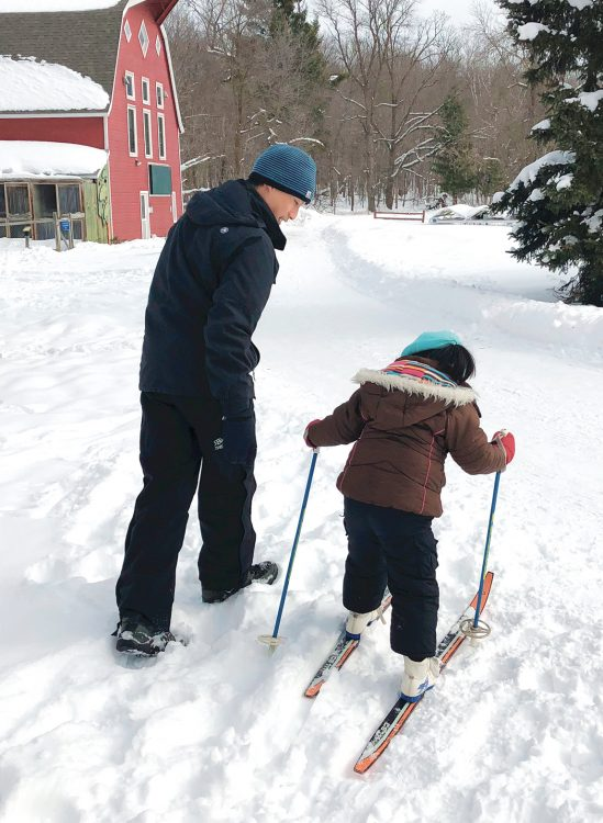 Learning to ski - Winter Family Weekend at Osprey Wilds
